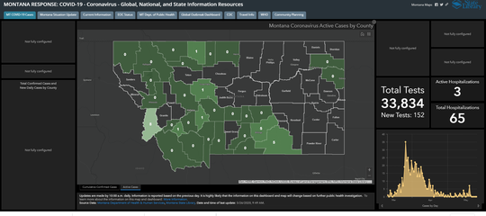 The above map shows the active numbers of coronavirus cases in Montana.