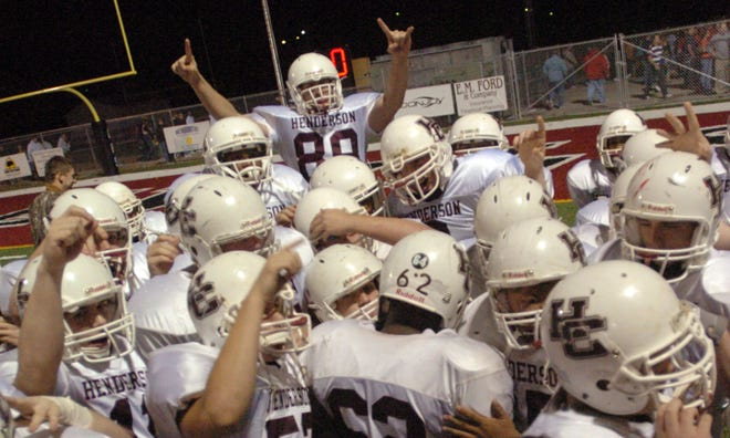 Henderson County players celebrate after their 2006 playoff win over Owensboro.