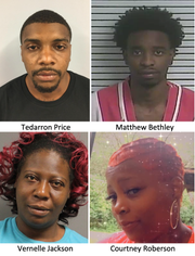 Hattiesburg police are looking for four people for questioning in the death of 28-year-old Rhakim James:  Tedarron Price, 27, Matthew Bethley, 25, Vernelle Jackson, 40, and Courtney Roberson, all of Hattiesburg.
