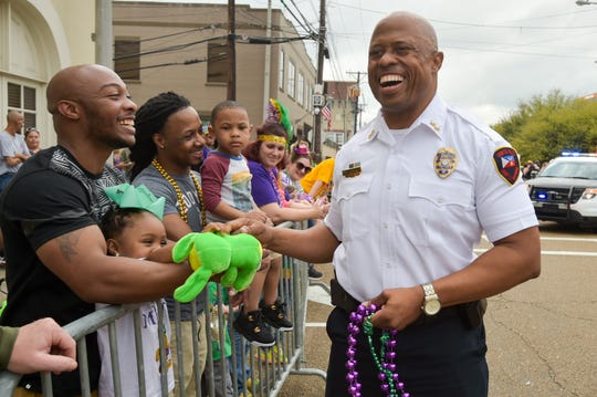 Deputy Chief Reginald Thomas. Lafayette Mardi Gras Festival Parade rolls through downtown Lafayette, LA. Tuesday, Feb. 28, 2017.