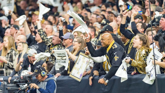 Saints fans cheering during the NFC Championship playoff football game between the New Orleans Saints and the Los Angeles Rams at the Mercedes-Benz Superdome in New Orleans. Sunday, Jan. 20, 2019.