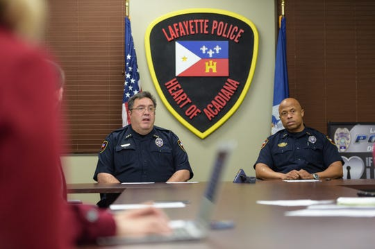 In this Dec. 28, 2017, file photo, Former Police Chief Toby Aguillard and Deputy Chief Reggie Thomas meet with members of the media to talk goals and objectives.