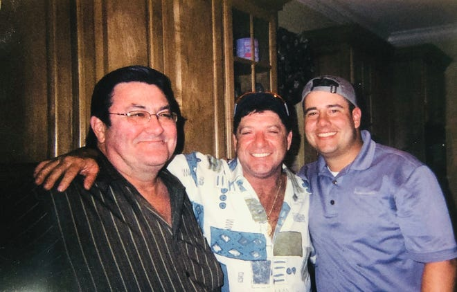 Randy Falcon,left, musician andpioneer accordion builder, passed away Saturday night in his Duson home from complications of Lou Gehrig's disease at the age of 69. Wayne Toups, center, and Kevin Naquin, right.