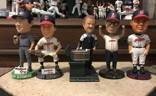 The 2006 Cleveland Indians stadium giveaway bobbleheads include two Grady Sizemore, a Jhonny Peralta, Drew Carey and possibly the best giveaway ever, a John Adams.