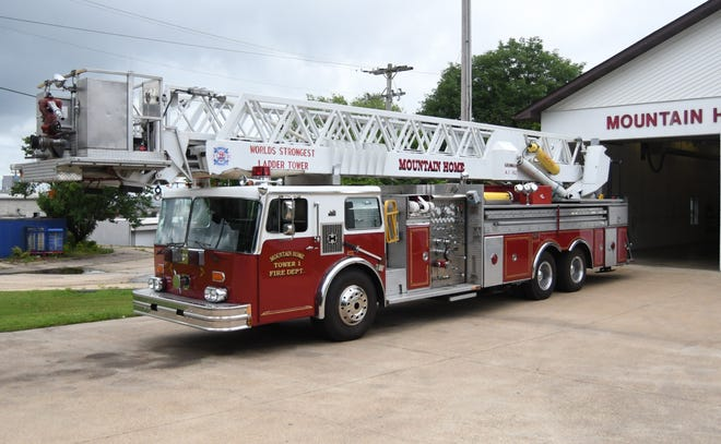 The Mountain Home Fire Department's Tower 1 ladder truck sits outside of Fire Station No. 2 on Tuesday. The 36-year-old truck will be replaced by a 2015 Sutphen ladder truck from New York in August 2021.