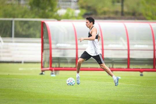 Midfielder Sean Davis of Holmdel runs through an individual workout as the Red Bulls reopened their Hanover training facility on Monday.