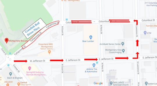 The route for the 16th annual Autism Crawfish Boil drive-thru, which will have two lines going past Riverwalk Stadium in downtown Montgomery.