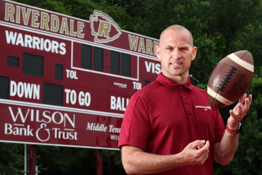 Riverdale Head football Coach Will Kriesky, stands on the Riverdale's tack Tuesday May 26, 2020, and talks about High School football beginning to start practice in Rutherford County on June 1st.