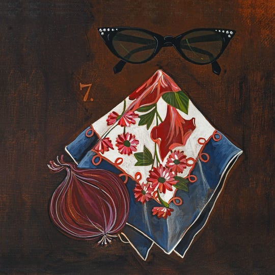 """Fanny kept sunglasses and a handkerchief in her apron,"" a painting by Amy C. Evans that inspired the recipe ""Fanny's Oxtail and Red Onion Soup Gratine"" in ""A Good Meal Is Hard to Find."""