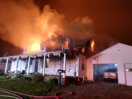 Firefighters responded to a home on fire on Roberts Avenue in Newark Township on Saturday, May 23, 2020.