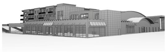 The view of developer Larry Jones' proposed redevelopment of the St. Clair County-owned former Art Van building from Fort Street and Grand River Avenue in downtown Port Huron.