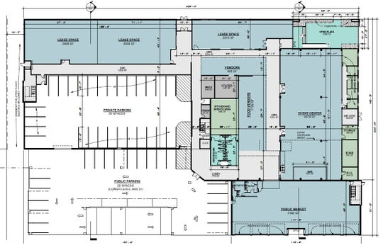 First floor schematics on developer Larry Jones' proposed redevelopment of the St. Clair County-owned former Art Van building in downtown Port Huron.
