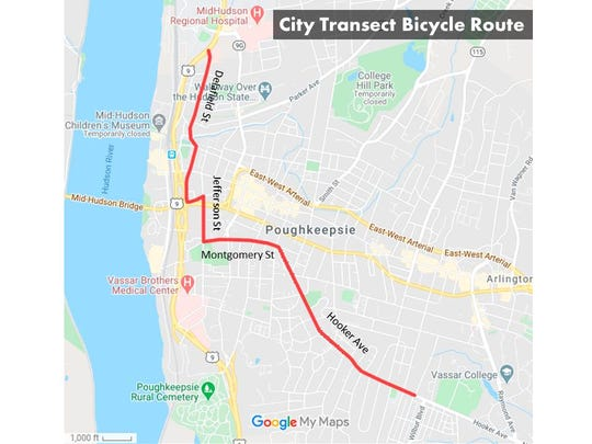 A map of of the City of Poughkeepsie's transect bicycle route.