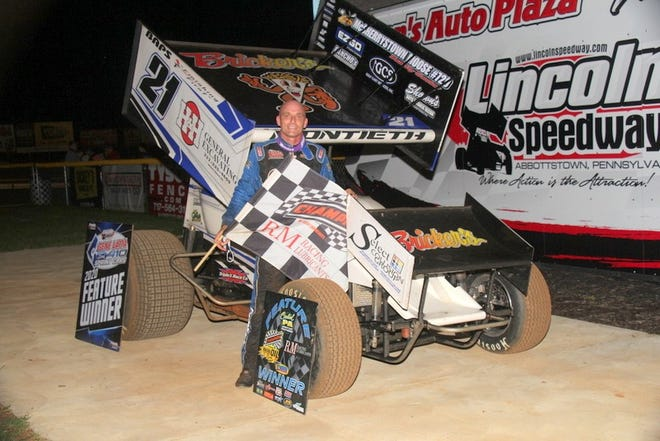 Brian Montieth is shown after winning the 410 sprint race at Lincoln Speedway. Montieth and car owner Jerry Parrish have parted ways.