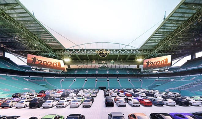 The Dolphins are planning to open up Hard Rock Stadium to fans, who would drive in.
