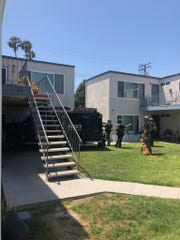 An Oxnard Police K-9 named Capone helped take a barricaded suspect into custody on Mariposa Street on May 23, 2020.