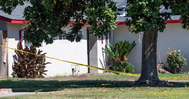 Visalia Police investigate the scene of a suspicious death on South Thomas Court north of Paradise Avenue on Tuesday, May 26, 2020.