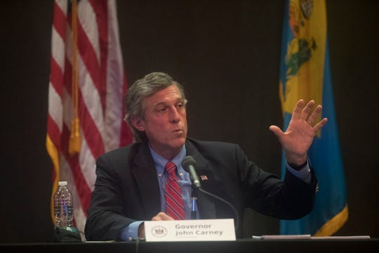 Governor John Carney speaks to the media during a briefing on the current status of the coronavirus pandemic in Delaware Tuesday, May 26, 2020, at the Carvel State Building in Wilmington.