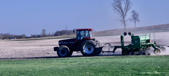 Planting on this central Wisconsin field is taking place more than two weeks earlier this year because of more favorable weather.