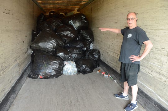 Brian Mohlman said his American Legion post is filling a semi with empty containers.