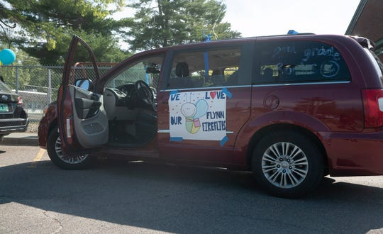 A car of one of the teachers at Flynn Elementary School on May 27, 2020. Teachers and staff at Flynn paraded in cars through Burlington's New North End neighborhoods that afternoon.