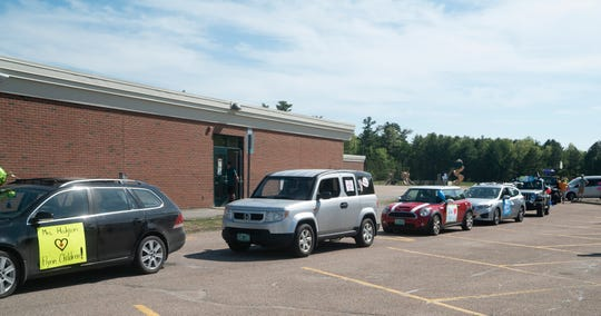 Cars got in formation at Flynn Elementary School in Burlington on May 27, 2020. Teachers and staff at Flynn paraded in cars through Burlington's New North End neighborhoods that afternoon to celebrate students before the end of the school year on June 11.