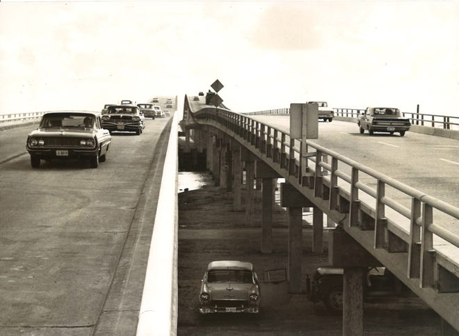 One-way traffic on each span of the newly complete Nueces Bay Causeway on Aug. 1, 1963. Previously, traffic traveled in both directions on one span.