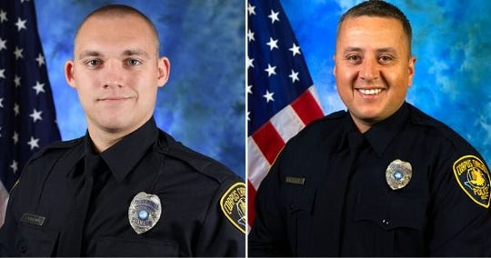 Corpus Christi police officers Jacob O'Sullivan and Rene Rodriguez were placed on paid administrative leave after a suspected burglar was shot on May 26, 2020.