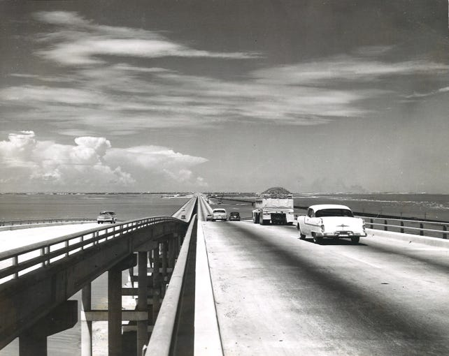 A panoramic view from the newly complete Nueces Bay Causeway looking north toward Portland in mid-August 1963.