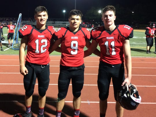 Brothers (left to right) Nate, Ben and Steve Maiers were all starters for the Dragons last fall.