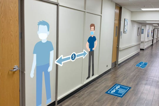 As Adena Health System begins to reopen, signage has been placed along the floor and walls to encourage and promote social distancing.