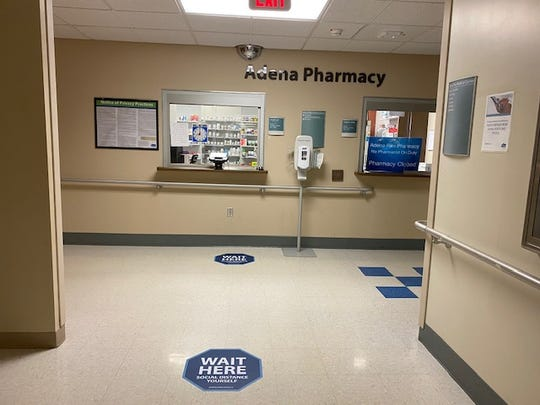 Floor markers are laid out throughout Adena Health System facilities to encourage and promote social distancing.