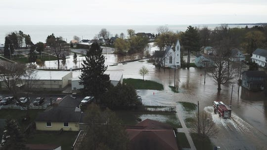 Several inches of rainfall led to flooding in Iosco County's Tawas City May 19.  The heavy rains led to continued rises in Great Lakes water levels.