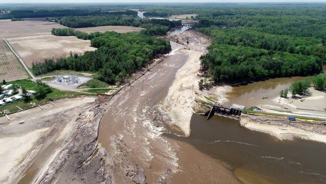 The area where the Edenville dam failed.