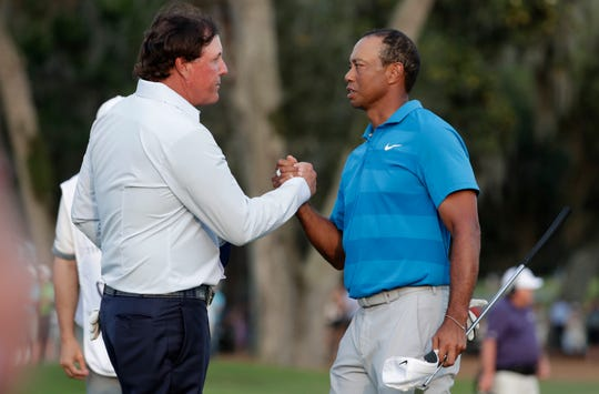 """Phil Mickelson, left, and Tiger Woods originally agreed to three events, but """"The Match"""" could continue after the third exhibition."""