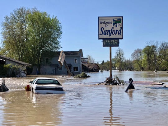 West Saginaw Road in downtown Sanford sits underwater, May 20, 2020. The Edenville dam failed the day before, sending the contents of Wixom lake down the Tittabawassee River, into the Sanford dam, which then also failed, resulting in the devastation of Sanford and other surrounding communities.