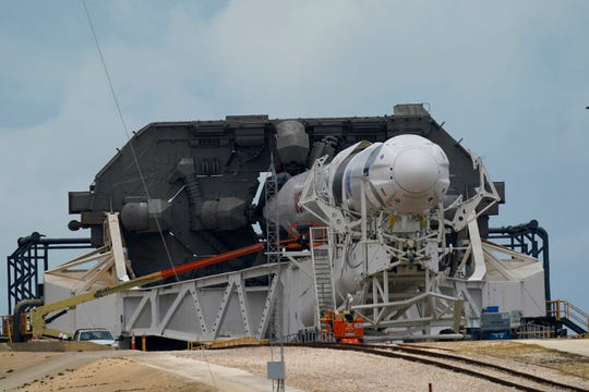 The SpaceX Falcon 9, with Dragon crew capsule is serviced on Launch Pad 39-A Tuesday, May 26, 2020, at the Kennedy Space Center in Cape Canaveral, Fla.
