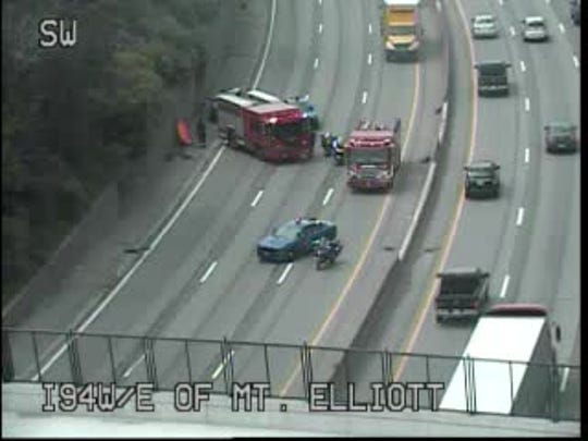 Eastbound Interstate 94 at Mt. Elliott is closed due to a crash.