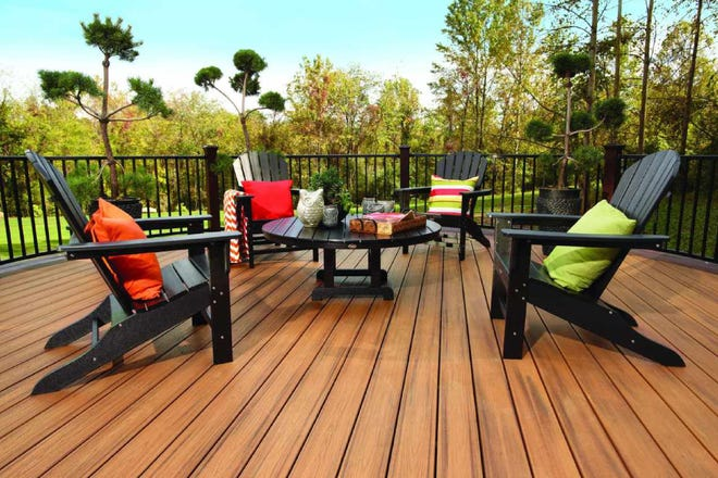 Composite decking is available in an array of colors, grains and patterns to replicate the look of real wood or to make a bold statement.