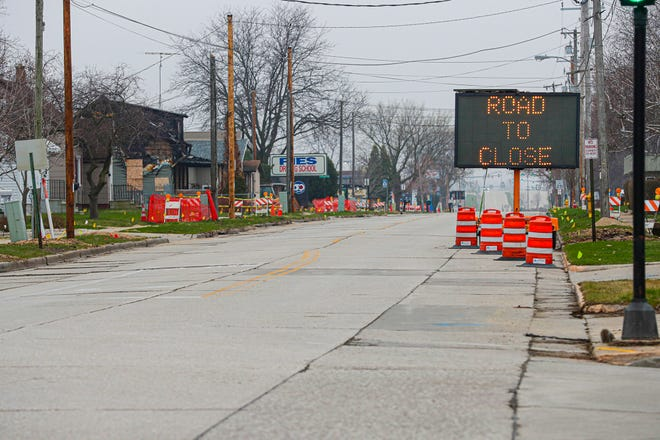 A sign announces a road closure for reconstruction on Military Road in Fond du Lac. The city is asking residents to weigh in on more proposed improvements to Military Road slated for 2022 that extends from Superior Street to Western Ave.