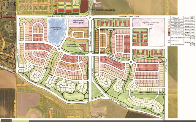 A conceptual plan for a proposed development of 1,240 homes and commercial center in north Fort Collins. The first phase of the 4,000-home Montava project is just to the north.