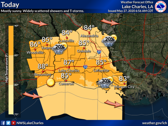 The National Weather Service in Lake Charles predicts that Acadiana could experience hail and strong winds as thunderstorms move through the area Wednesday.