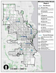 A map shows the streets the city of Milwaukee plans to close to through traffic as part of its Active Streets program, which was approved by the Common Council on May 27, 2020, and aims to create more space for walking and cycling during the coronavirus pandemic.
