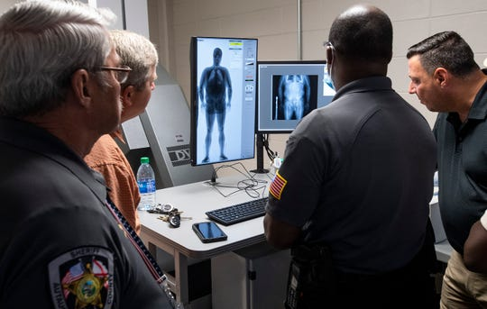 Training is taking place on the new full body scanner at the Autauga Metro Jail in Prattville, Ala., on Wednesday May 27, 2020.