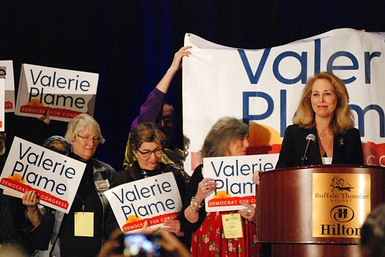 Congressional candidate and former CIA operative Valerie Plame of Santa Fe, N.M., seeks support from local party delegates at the Democratic Party preprimary convention in Pojoaque, N.M., Saturday, March 7, 2020. Candidates for open congressional and Senate seats underwent the first test of their political might as the Democratic and Republican parties of New Mexico held statewide conventions. The conventions decide the ballot order for candidates in the state's primary election on June 2.