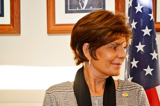 FILE - In this Nov. 4, 2019, file photo, Republican U.S. House hopeful Yvette Herrell of New Mexico waits for a news conference in Albuquerque, N.M., about a GOP challenge to the way the state is counting absentee ballots. Three Republican hopefuls seeking to challenge Democratic U.S. Rep. Xochitl Torres Small for a key southern New Mexico seat.