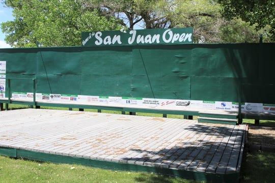 The San Juan Open podium sits quiet on Wednesday, May 27, 2020, at San Juan Country Club in Farmington.