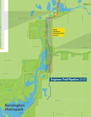 The pink areas show where Kensington Metropark trails could be closed during the Saginaw Trail Pipeline project.