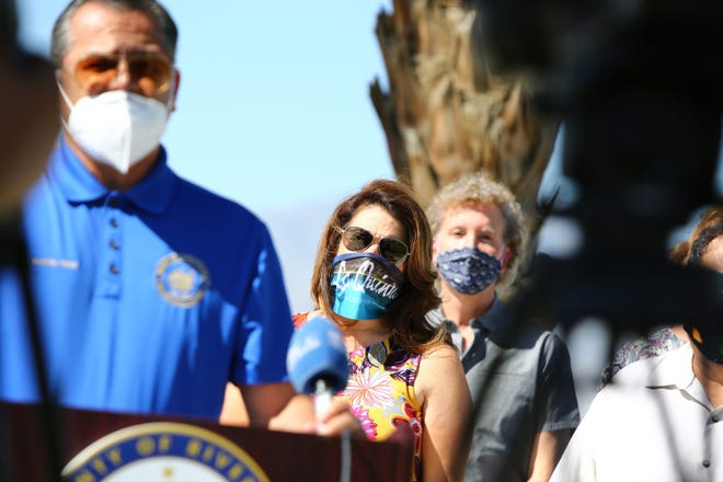 Riverside County Supervisor V. Manuel Perez, left, City of La Quinta Mayor Linda Evans and City of Palm Springs Mayor Geoff Kors were tested for coronavirus at the Riverside County Fairgrounds in Indio, Calif., on Wednesday, May 27, 2020.