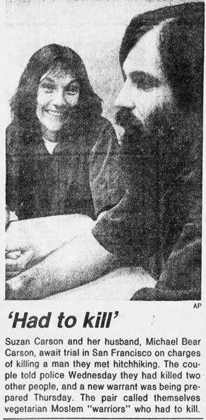 A photo of Michael Bear Carson and his wife, Suzan Carson, in a clipping from the Arizona Republic in 1983 after their arrest.